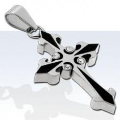 Pandantiv din oţel chirurgical, cruce bicoloră cu patru zirconii