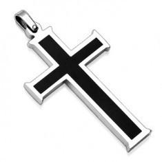 Pandantiv din oțel chirurgical - cruce cu centru negru
