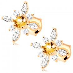 Cercei din aur 375 - floare cu citrin galben și zirconii transparente