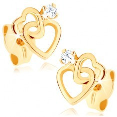 Cercei din aur galben de 14K - contururi unite, sub formă de inimă, diamant