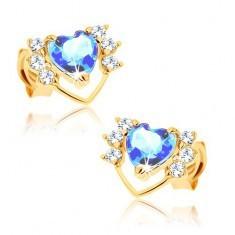 Cercei din aur galben 9K - contur subţire de inimă cu zirconii, topaz albastru