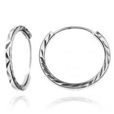 Cercei argint, rotunzi - detalii în zigzag, 15 mm