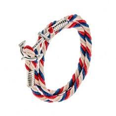 Brățară împletită din șnururi, albastru, roșu și două albe, ancoră