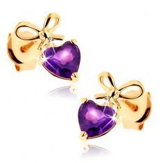 Cercei din aur galben 9K - inimă ametist violet cu fundă legată