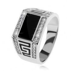 Inel argint 925, dreptunghi negru, ştrasuri transparente, cheie grecească