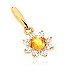 Pandantiv din aur 585 - floare înflorită citrin galben, petale zirconii transparente