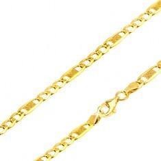 Lanț aur galben 14K - trei ochiuri, o za lungă cu plasă, 550 mm