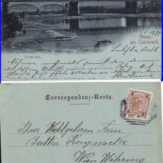 Cernauti ( Bucovina )- Podul peste Prut-clasica,1899, rara, edit. Leon Konig, Circulata, Printata