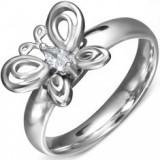 Inel din oțel chirurgical - bandă cu fluture și zirconiu