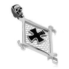 Pandantiv din oțel chirurgical, romb mare, cruce Malteză neagră și craniu