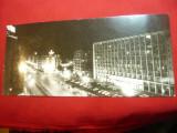 Ilustrata-Fotografie- Bucuresti -B-dul. G-ral. Magheru noaptea RSR -format lung, Necirculata