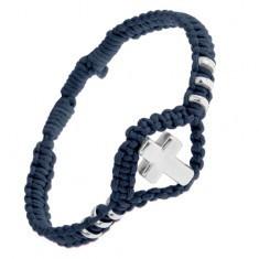 Brățară împletită ajustabilă de culoare albastru închis, cruce lucioasă din oțel și cercuri