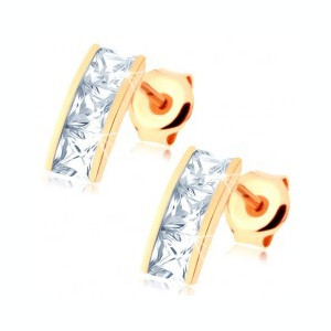 Cercei din aur 14K - bandă lată încrustată cu zirconii pătrate, transparente