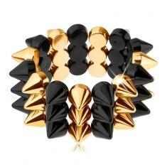 Brățară cu ținte pe trei rânduri, elastică, negru cu auriu