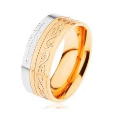 Inel lucios din oţel 316L, auriu cu argintiu, spirală, şarpe, adâncituri