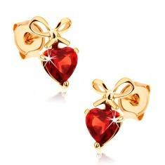 Cercei din aur 585 - inimă granat roşu cu fundiţă legată