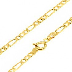 Lanţ din aur 375 - o za dreptunghiulară şi trei zale mai mici, ovale, 500 mm