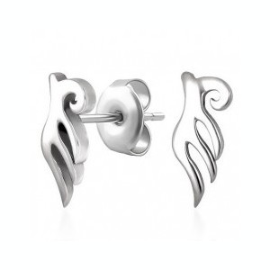 Cercei din oțel, aripi de înger, lucioase și argintii, șuruburi