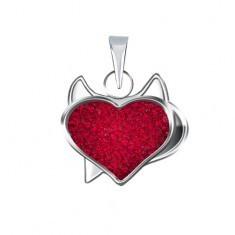 Pandantiv din argint 925 - inimă roşie, diavol, zirconiu