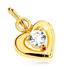 Pandantiv din aur galben 9K - linie lucioasă inimă simetrică, zirconiu rotund transparent