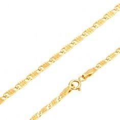 Lanț din aur galben 14K - zale plate alungite cu grilaj, 445 mm
