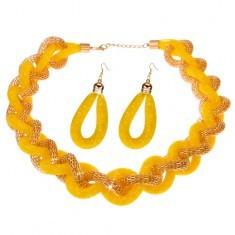 Set cu cercei și colier, lanț masiv împletit, plasă galbenă - mărgele