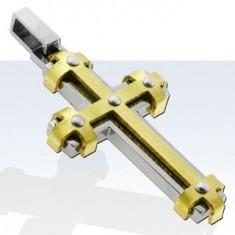 Pandantiv din oțel chirurgical, cruce cu linii aurii