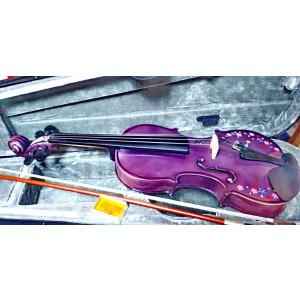 Set Vioara 4/4 culoare mov/lila flori arcus+toc transport+barbie+sacaz