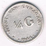 Moneda 1/4 gulden 1944 - Curacao, 3,58 g argint 0,6400, Africa