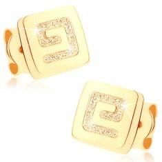 Cercei din aur 375 - pătrat mic lucios, cheie grecească înnisipată