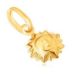 Pandantiv din aur galben 9K - soare bombat lucios cu față