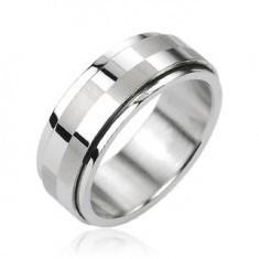 Inel din oţel argintiu, dungă centrală rotativă cu motiv tablă de şah
