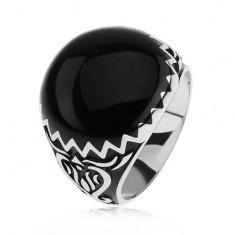 Inel argint 925, decoraţiuni negre, model în formă de zig-zag şi ornamente