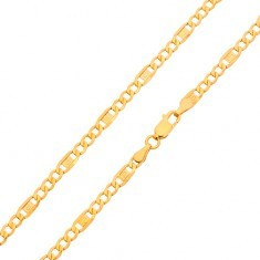 Lanț din aur - trei ochiuri ovale, za cu cheie grecească, 550 mm