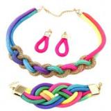 Set de cercei, brățară și colier, șnururi colorate împletite, lănțișor
