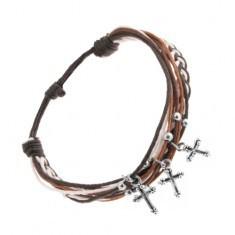 Brățară cu șnururi negre, albe și maro, bile și cruci din oțel
