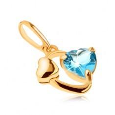 Pandantiv din aur 585 - contur oval, inimă lucioasă, inimă din topaz albastru