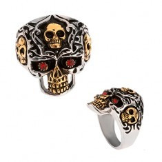 Inel din oțel 316L, craniu argintiu și auriu, pietre roșii