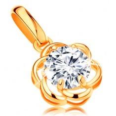 Pandantiv din aur de 14K - floare strălucitoare din zirconiu transparent, petale rotunde