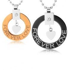 Coliere pentru cupluri realizate din oțel chirurgical, contur cerc, inimă, FOREVER LOVE (DRAGOSTE ETERNĂ)