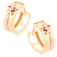 Cercei în două culori din aur 585 - cerc lucios. fâșie, floare de crin de culoarea cuprului