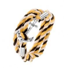 Brățară realizată din șnururi negre, bej, galben, ancoră de navă