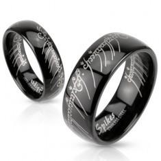 Inel bandă neagră din oțel cu model Stăpânul Inelelor