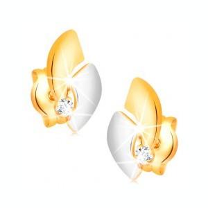 Cercei din aur 14K cu un diamant strălucitor, arce bicolore, șuruburi