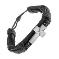 Brăţară din piele de culoare neagră, cruce patinată cu linii intersectate