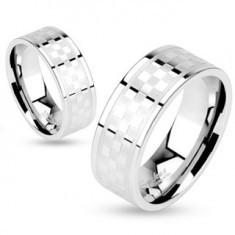 Inel realizat din oțel chirurgical, model tablă de șah mată și lucioasă, 6 mm