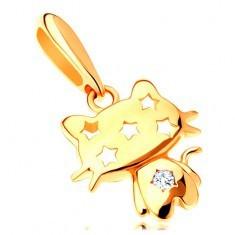 Pandantiv din aur galben de 14K - pisică lucioasă, zirconiu transparent, stele