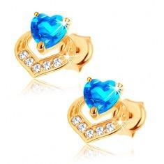 Cercei din aur galben 9K - topaz albastru în formă de inimă, contur de inimă strălucitor