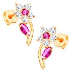 Cercei din aur 585 - floare lucioasă împodobită cu zirconii transparente şi roz