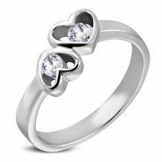 Inel din oțel cu model inimă dublă